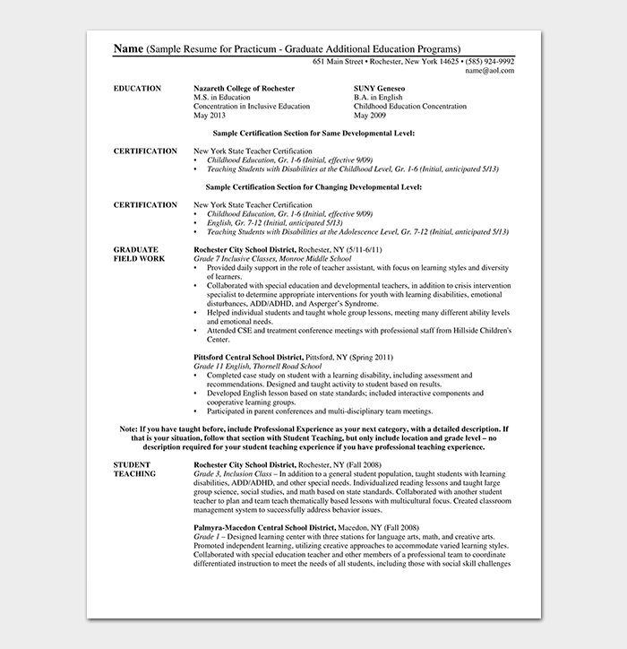 Education Graduate Sample Resume
