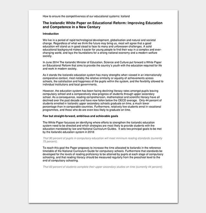 Education Reform White Paper
