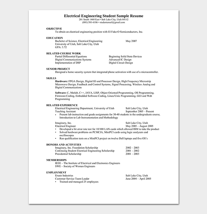 Electrical Engineer Fresher Resume