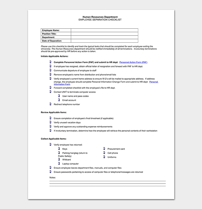 Employee Termination Checklist DOC