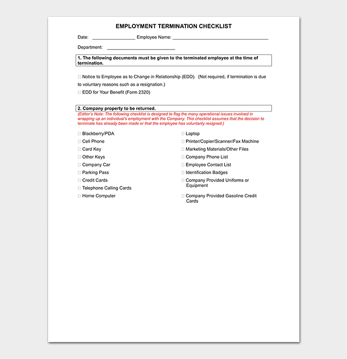 Employment Termination Checklist WORD