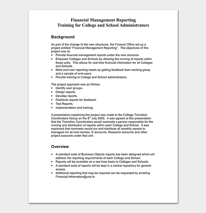 Financial Management Reporting