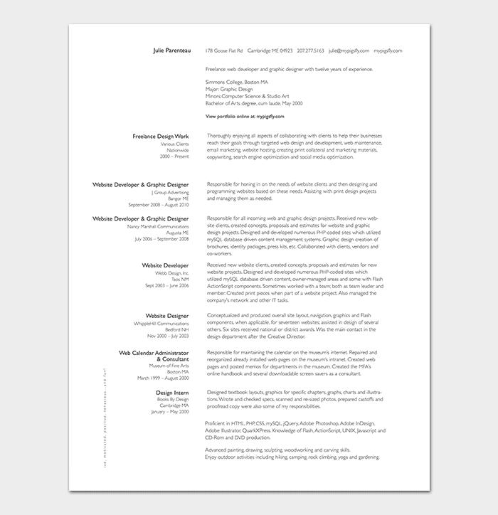 Freelance Web Developer Resume