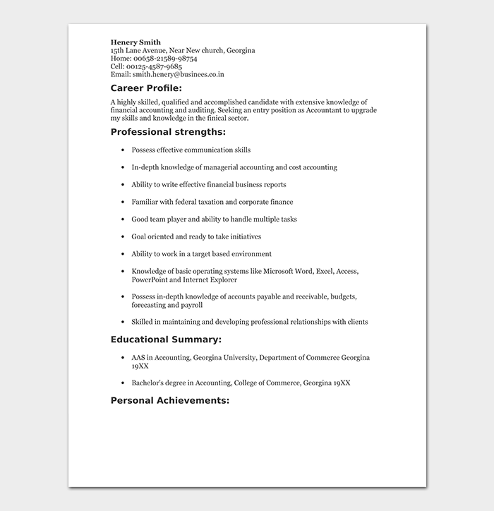 Fresh Accounting Graduate Resume