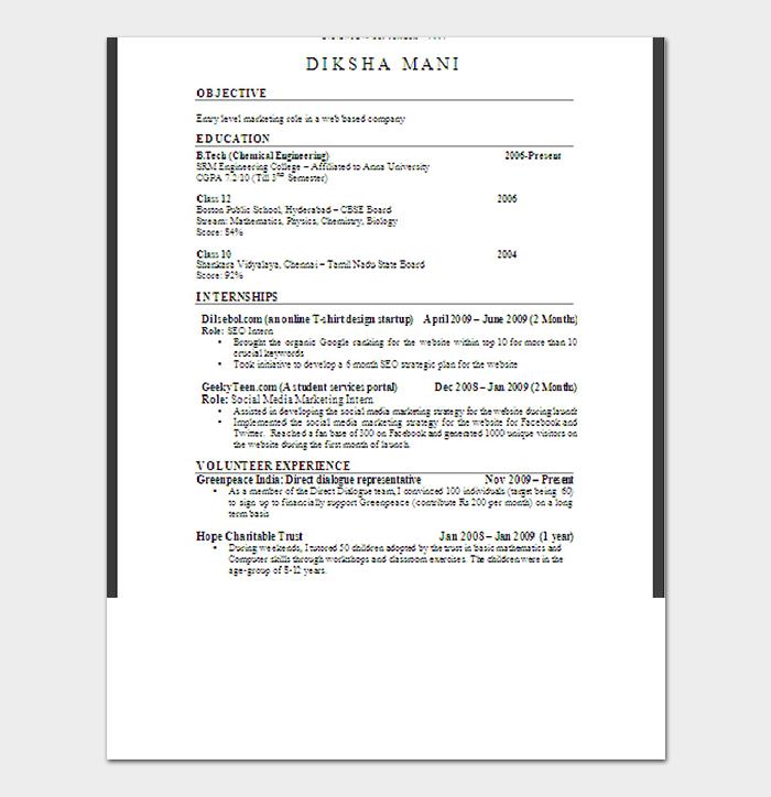 Fresher Professional Resume Format