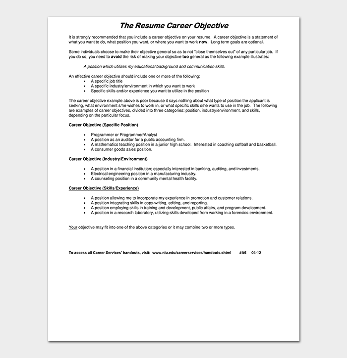 Fresher Resume for Career Objective