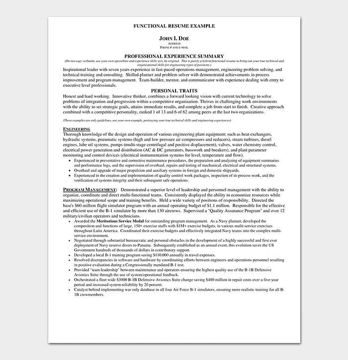 Functional Resume Example PDF