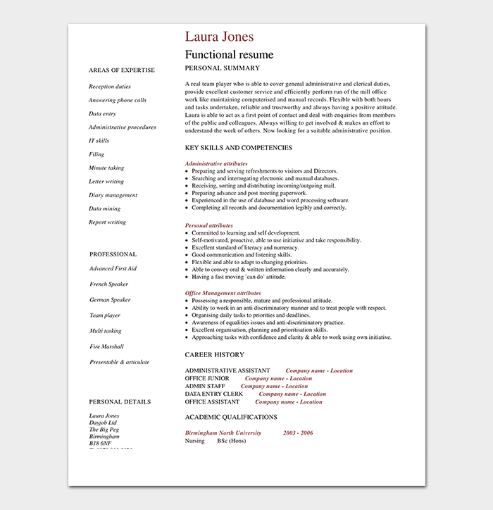 Functional Resume Sample PDF