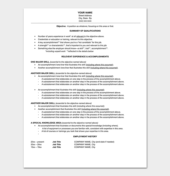 Functional Resume Style