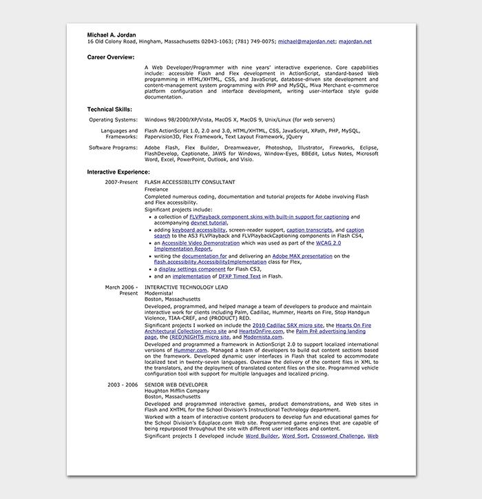 HTML Web Developer Resume
