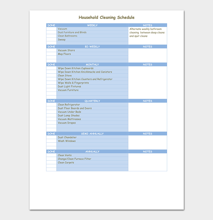 House Cleaning Schedule PDF