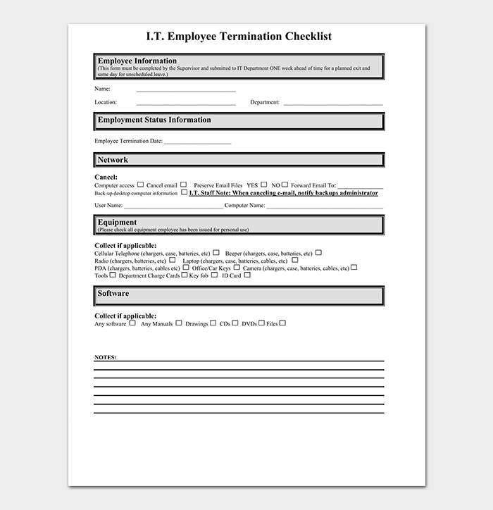 IT Employee Termination Checklist