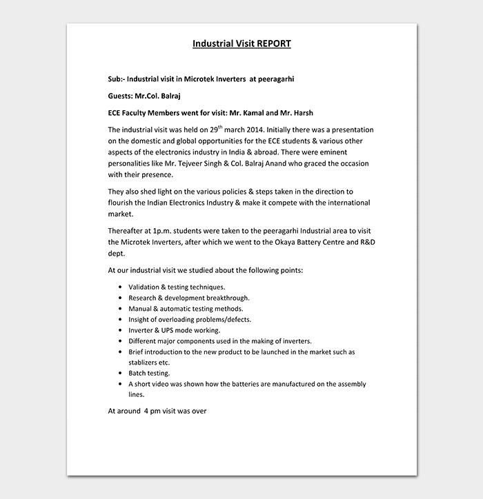 Industrial Visit Report in PDF Format