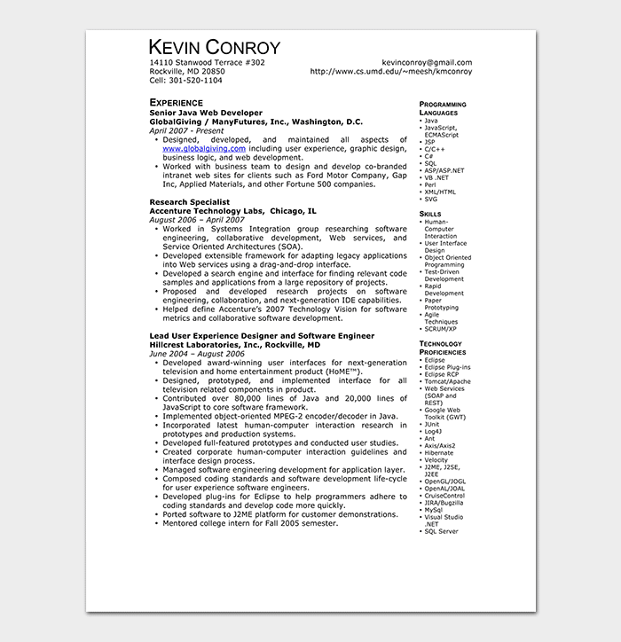 Java Web Developer Resume
