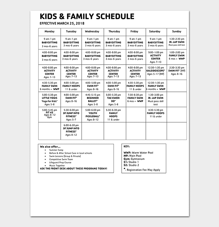 Kids & Family Schedule