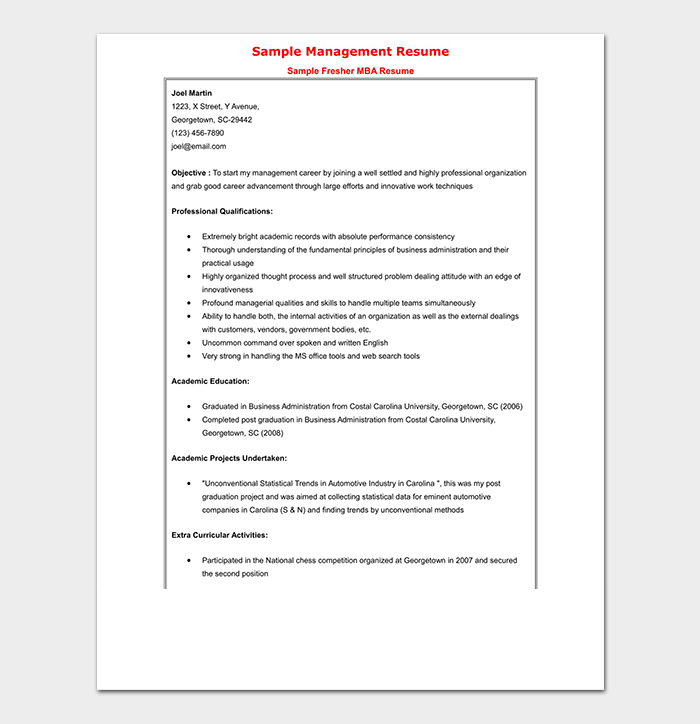 MBA Finance Fresher Professional Resume