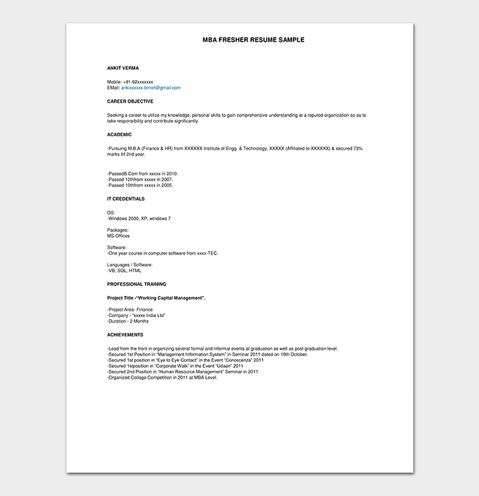 Fresher Resume Template 50 Free Samples Examples Word Pdf