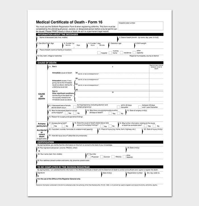 Medical Certificate of Death