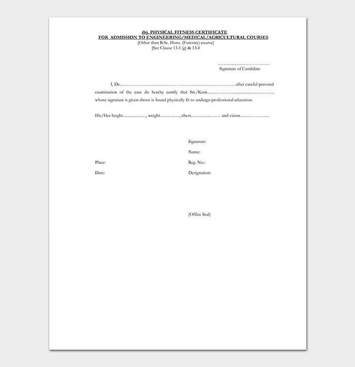 Medical Fitness Certificate Format for Engineering Admission