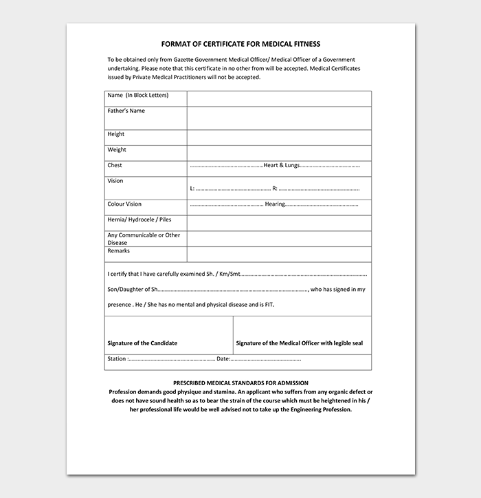 Medical Fitness Certificate for Students