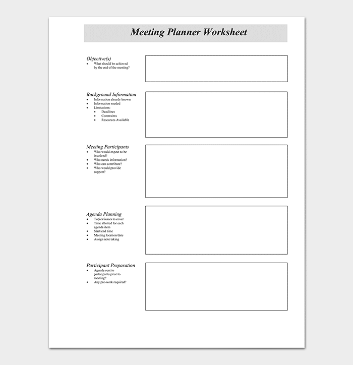 Meeting Schedule Planner Worksheet