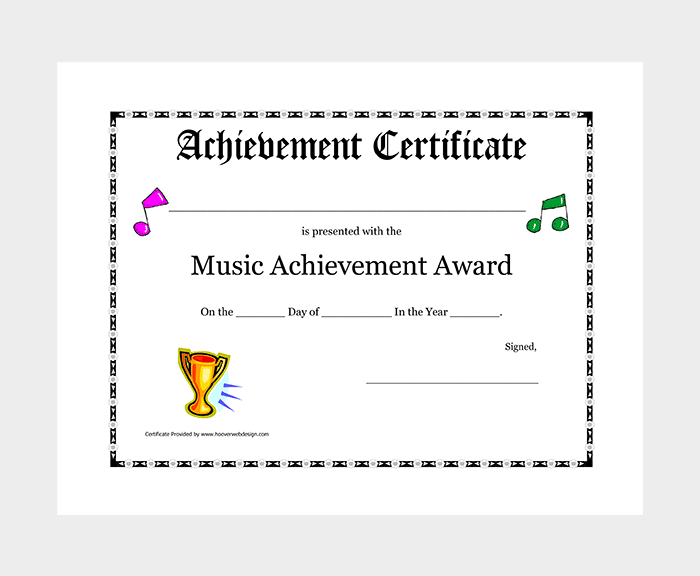 Music Award Certificate