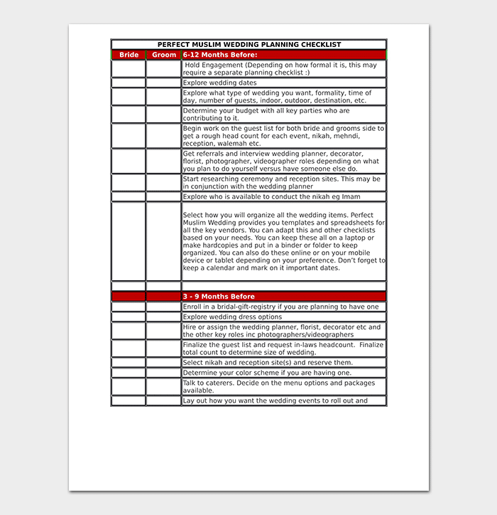 Muslim Wedding Checklist
