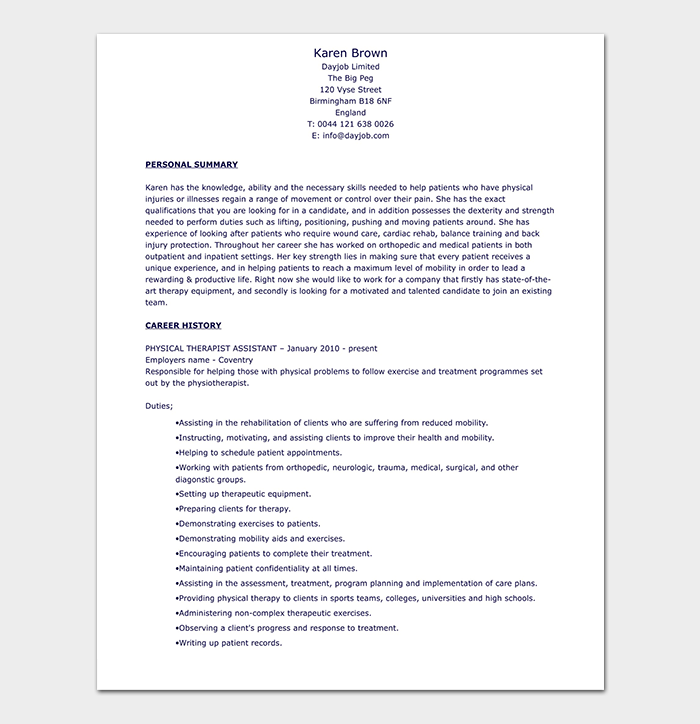 Physical Therapist Resume Template 10 Free Samples