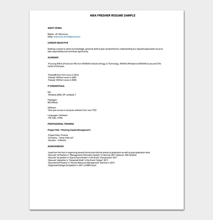 Post Graduate Fresher Resume Format
