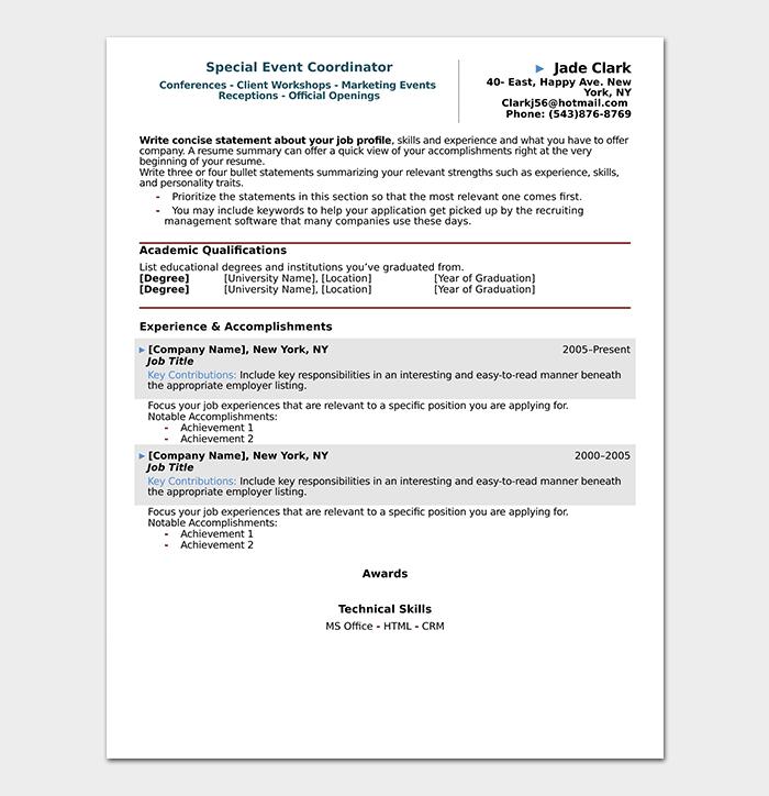 Professional Event Coordinator Resume