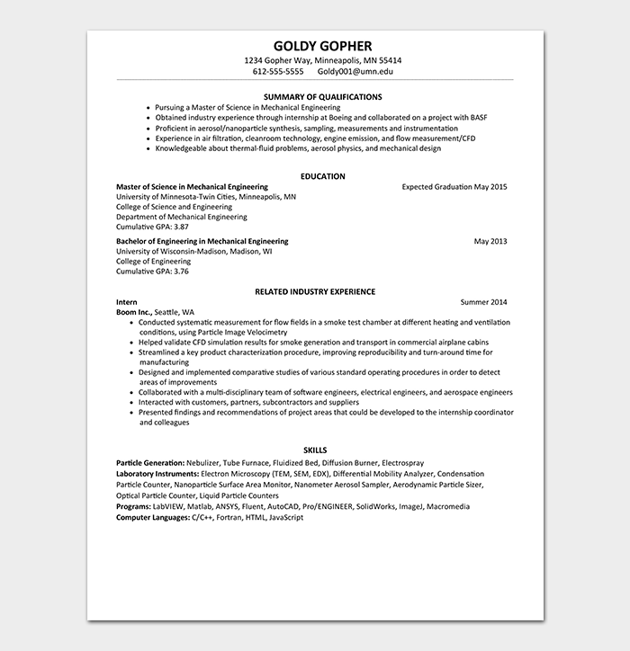 Professional Fresher Resume Format