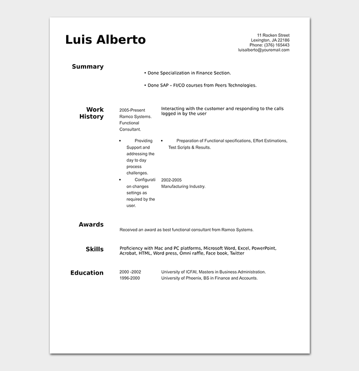 Professional Resume for Students