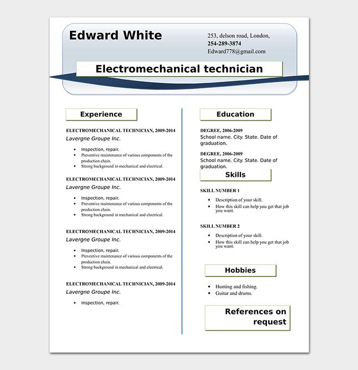 Professional Technician Resume