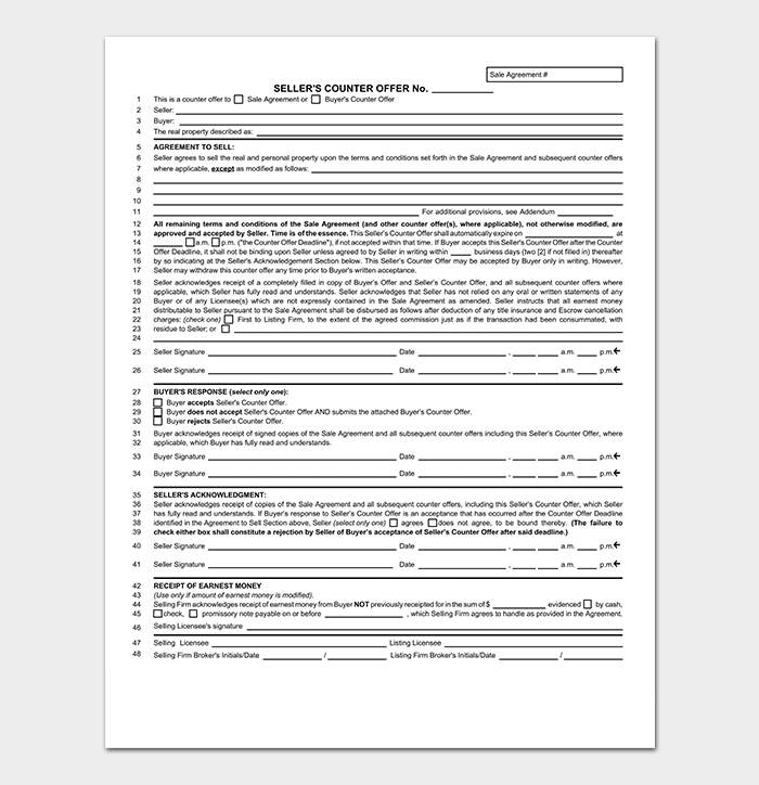 Real Estate Counter Offer Form PDF