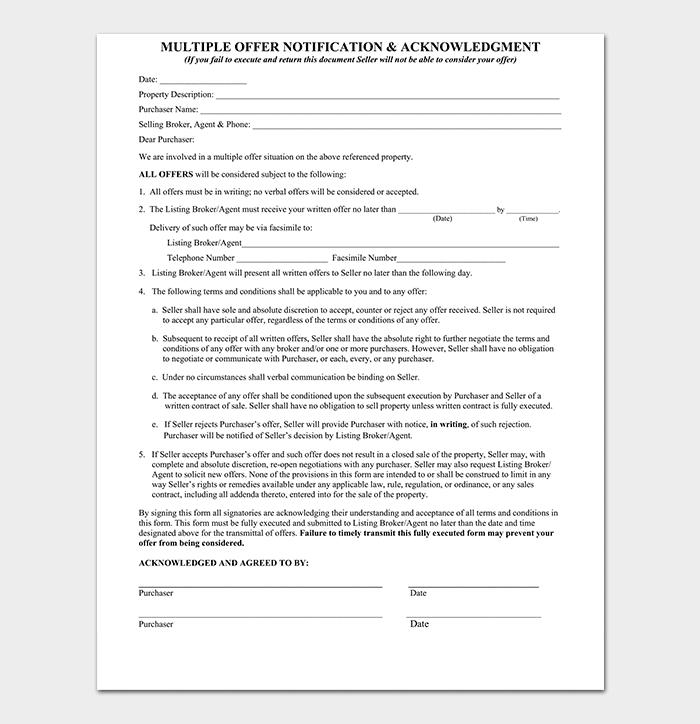 Real Estate Multiple Offer Form