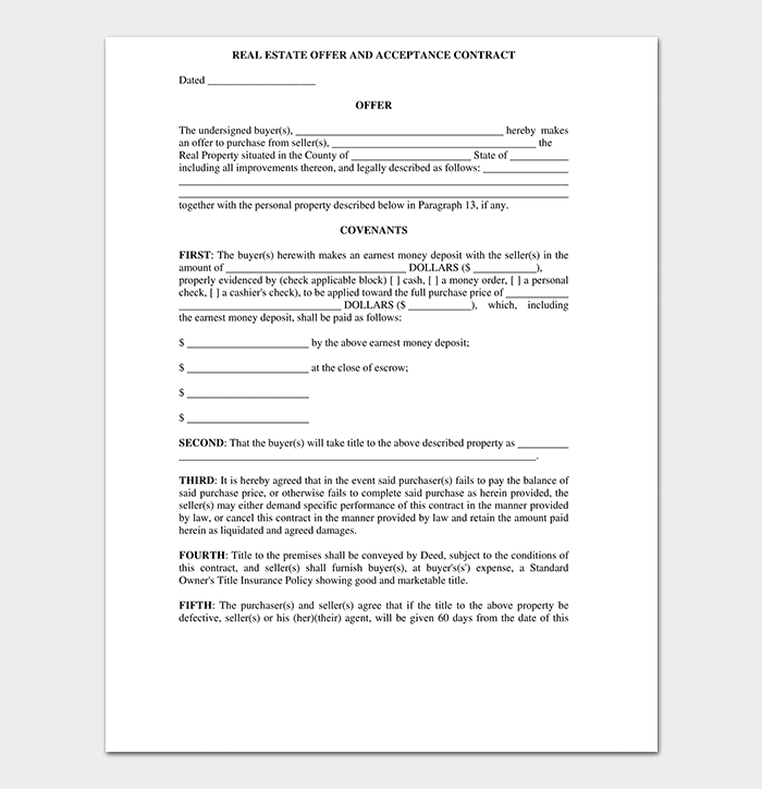 10 Real Estate Offer Forms Free Printable Forms