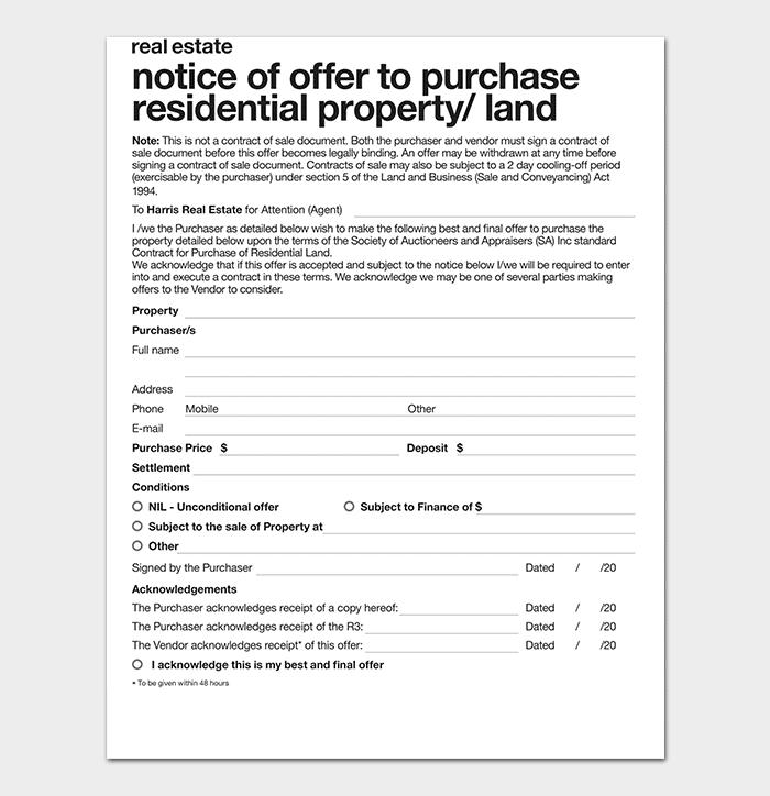 Real Estate Written Offer Form