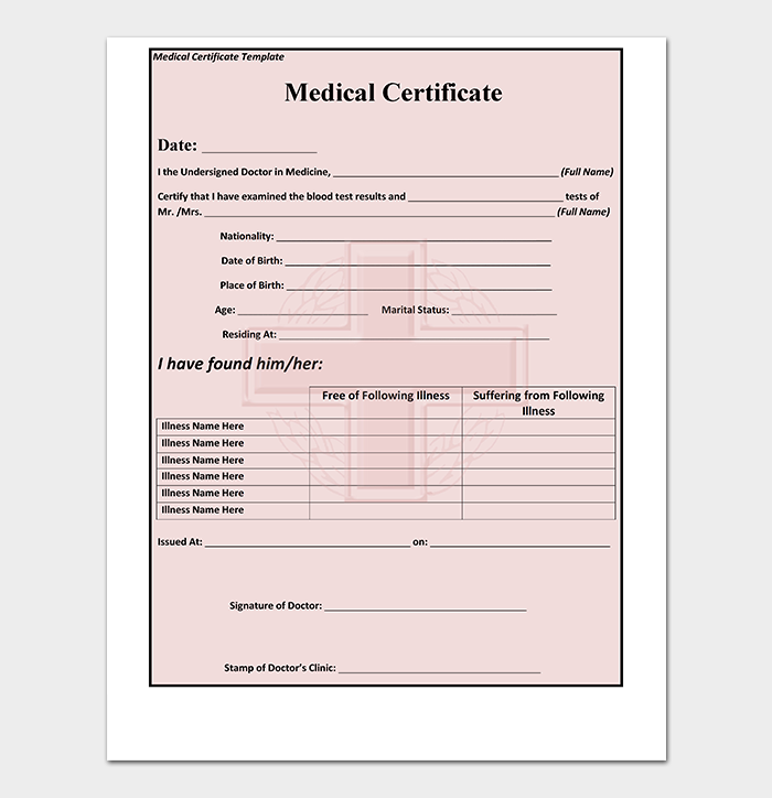 medical certificate template for sick leave