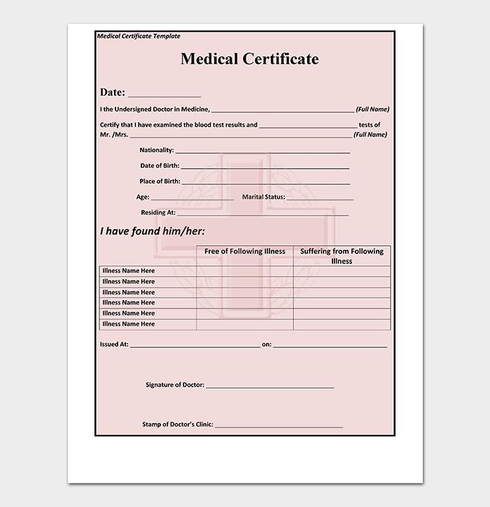 Sample Medical Certificate Template