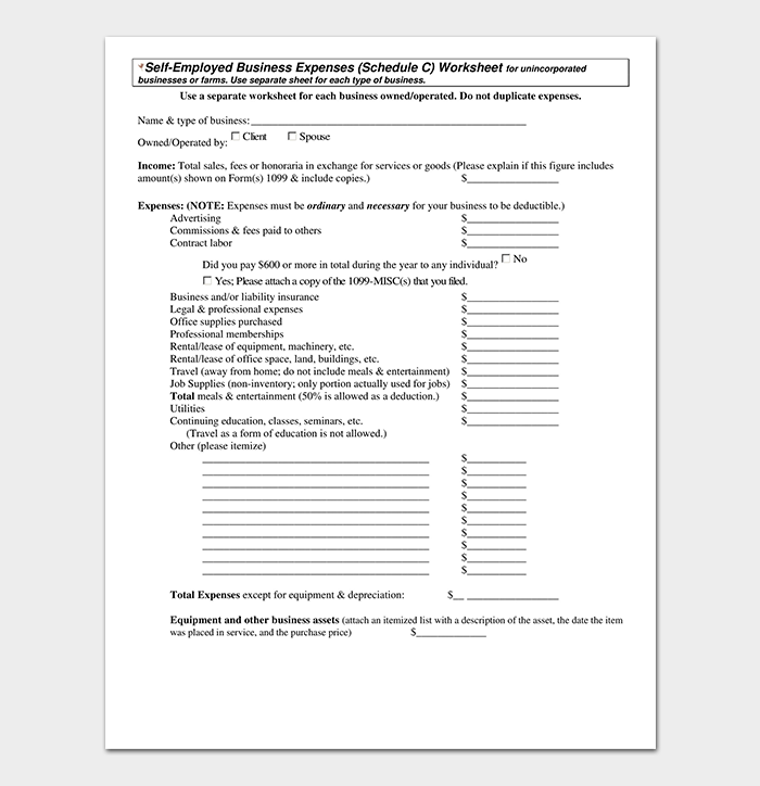 Self Employed Business Expenses Worksheet