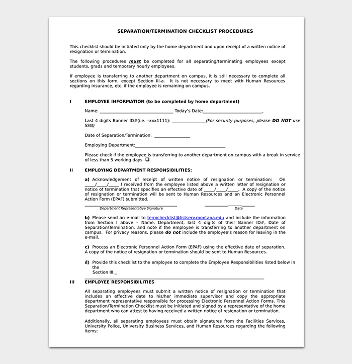 Separation Termination Checklist