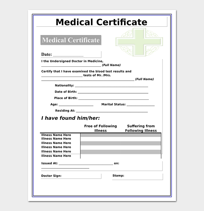 Medical Certificate From Doctor Template 17 Free Samples Formats