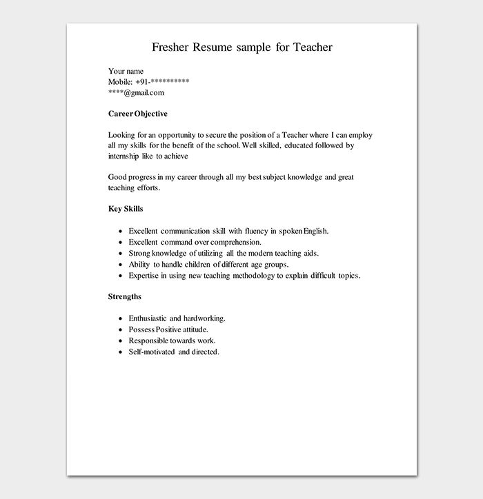 Teacher Fresher Resume