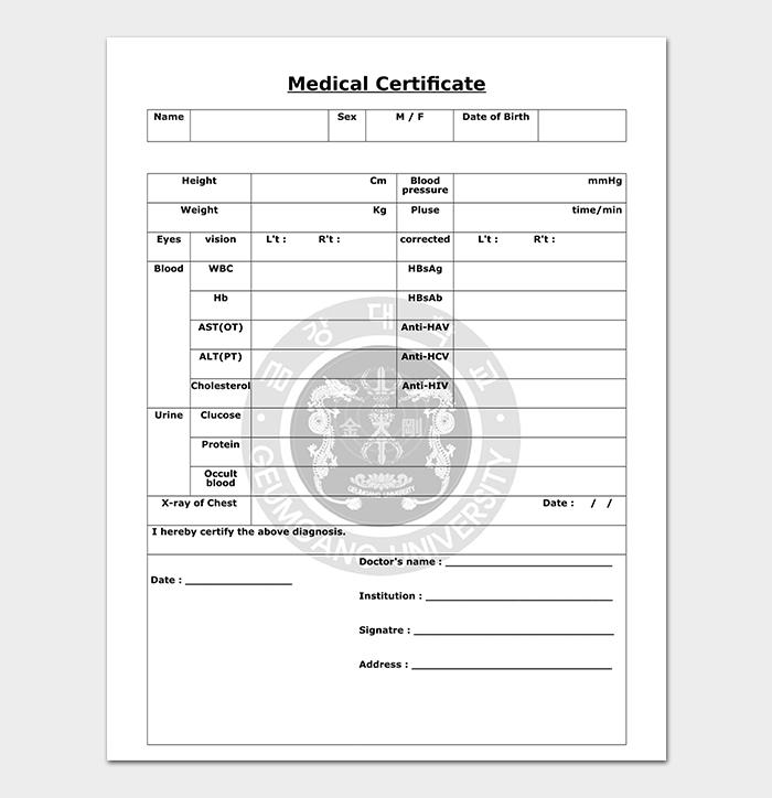 Template of Medical Certificate