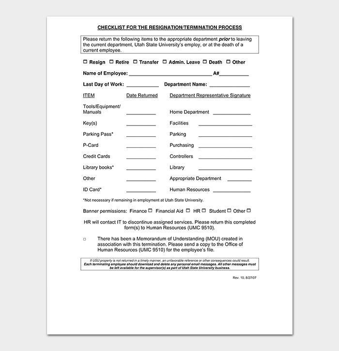 Termination Checklist PDF