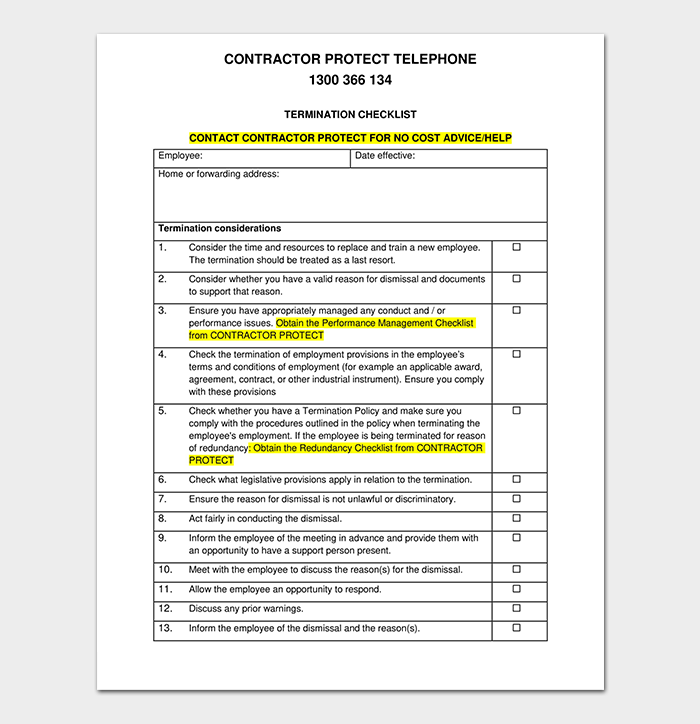 Termination Checklist for Contractor