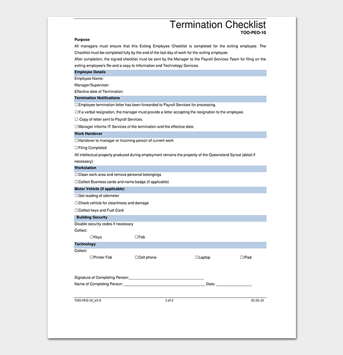 Termination Checklist for Manager's Use