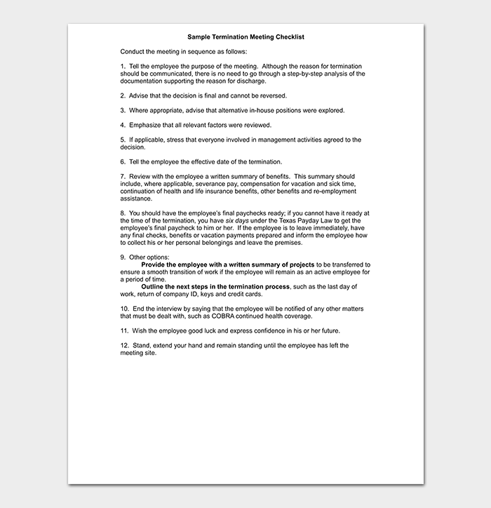 Termination Meeting Checklist