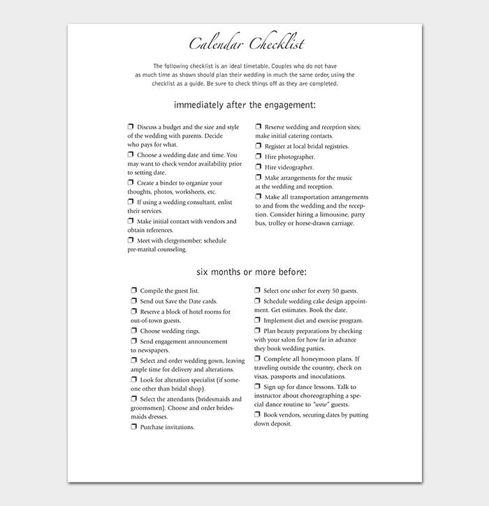 Traditional Wedding Checklist