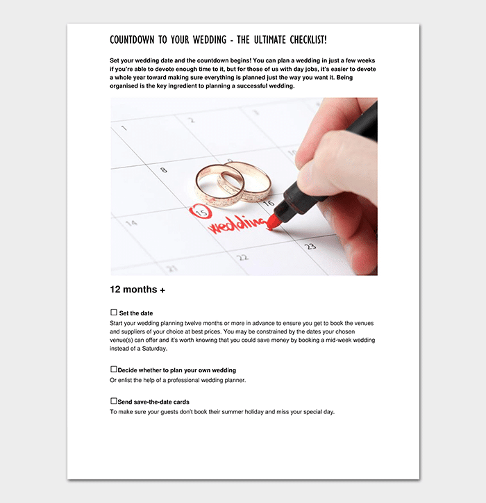 29+ Wedding Checklist Templates   Free For Word, Excel, PDF